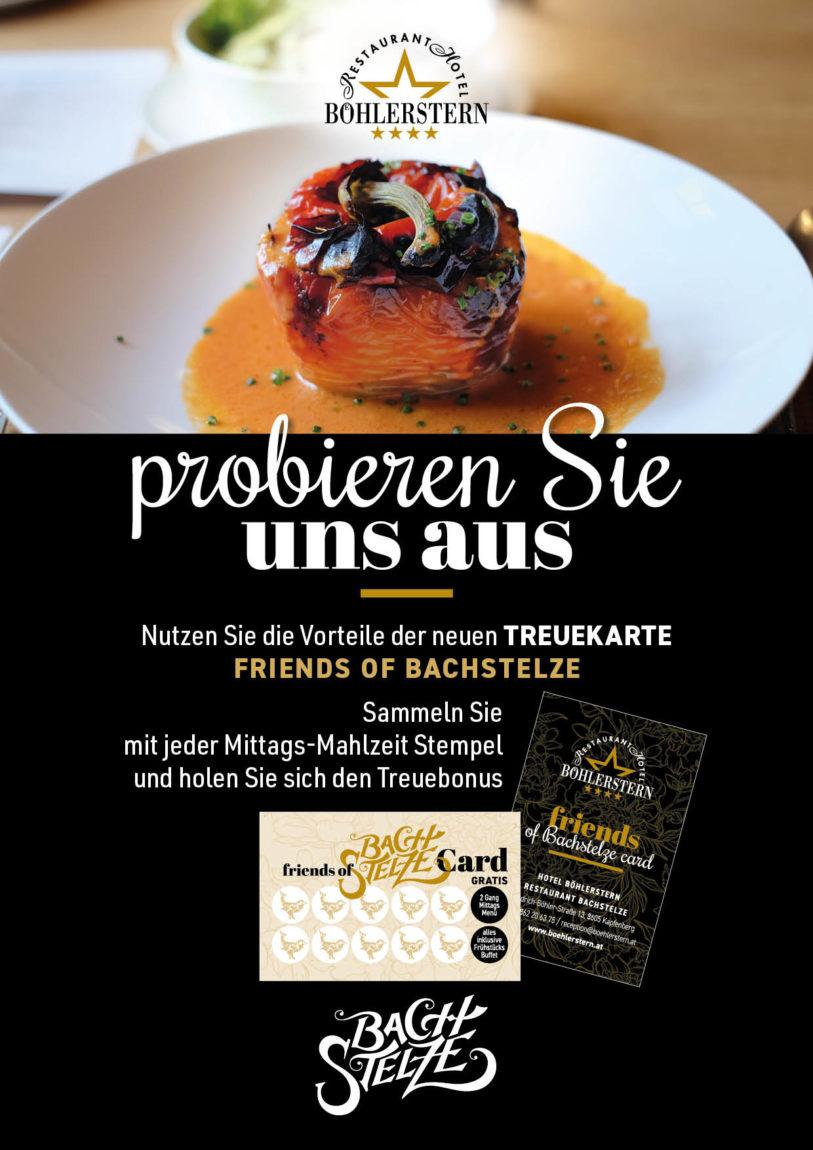 Treuekarte für Restaurant Bachstelze