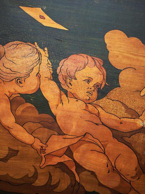 Bemalte Holzdecke im Hotel Boehlerstern.